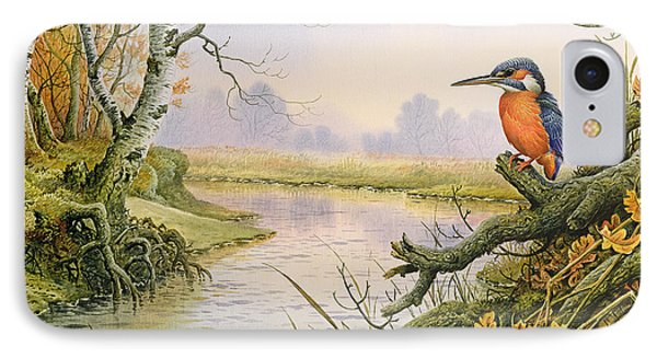Kingfisher iPhone 7 Case - Kingfisher  Autumn River Scene by Carl Donner
