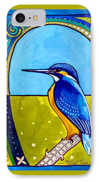 IPhone Case featuring the painting Kingfisher by Dora Hathazi Mendes