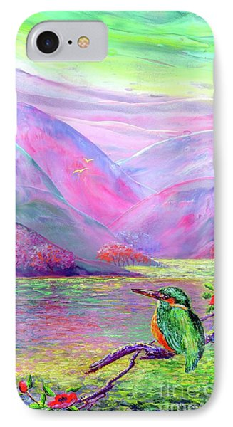 Kingfisher, Shimmering Streams IPhone Case by Jane Small