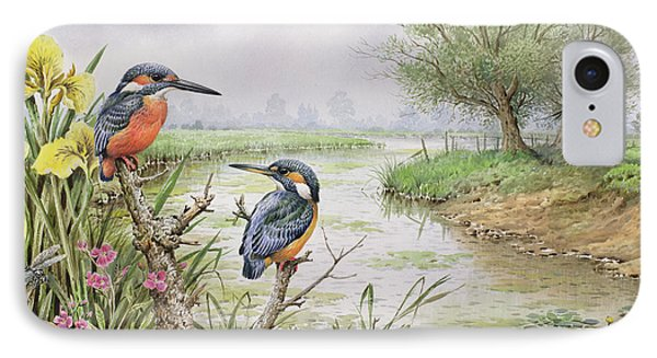 Kingfisher iPhone 7 Case - Kingfishers On The Riverbank by Carl Donner