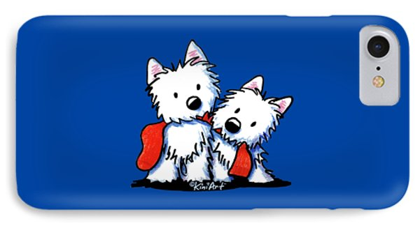 Kiniart Red Sock Westies IPhone Case by Kim Niles