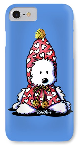 Kiniart Snowbunny Westie Phone Case by Kim Niles