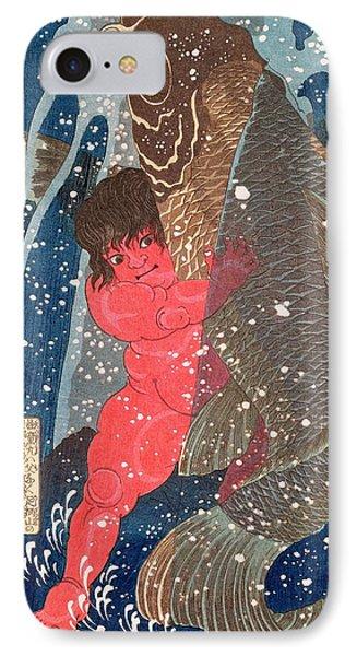 Kintoki Swims Up The Waterfall Phone Case by Kuniyoshi
