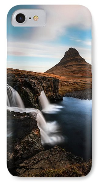 Kirkjufellsfoss Waterfalls Iceland IPhone Case by Larry Marshall