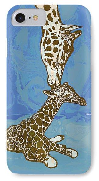 Kissing - Giraffe Stylised Pop Art Poster IPhone Case by Kim Wang