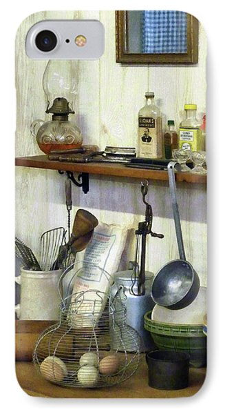 Kitchen With Wire Basket Of Eggs IPhone Case by Susan Savad