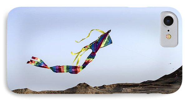 Kite Dancing In Desert 02 IPhone Case by Arik Baltinester