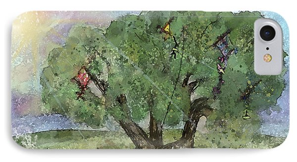 IPhone Case featuring the painting Kite Eating Tree by Annette Berglund