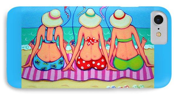 Kite Flying 101 - Girlfriends On Beach IPhone Case by Rebecca Korpita