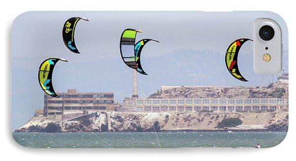 Kite Surfing Alcatraz Prison  IPhone Case