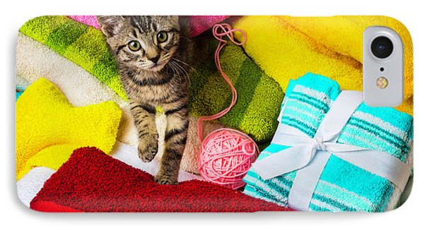 Kitten Among Bath Towels IPhone Case by Garry Gay