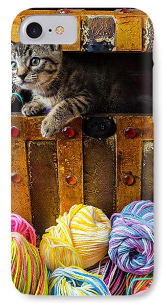 Kitten Hiding In Treasure Box IPhone Case by Garry Gay
