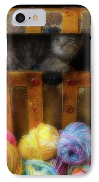 Kitten In A Box With Yarn IPhone Case by Garry Gay