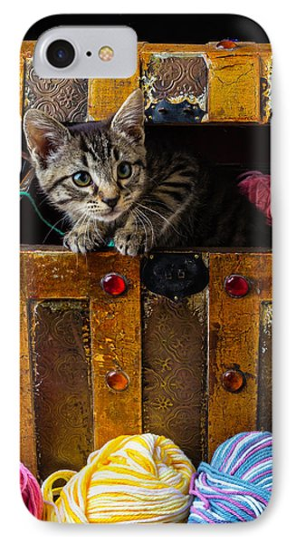 Kitten In Treasure Box IPhone Case by Garry Gay