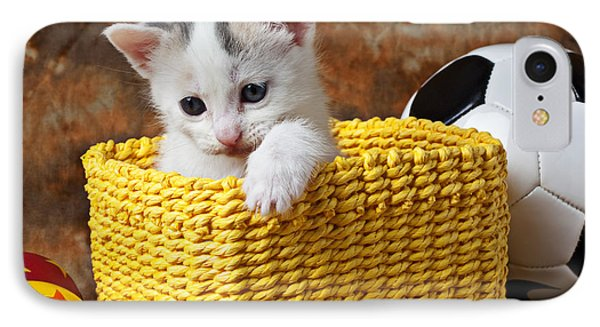 Kitten In Yellow Basket IPhone Case by Garry Gay