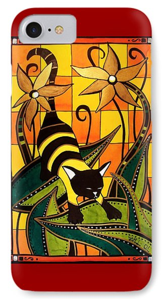 IPhone Case featuring the painting Kitty Bee - Cat Art By Dora Hathazi Mendes by Dora Hathazi Mendes