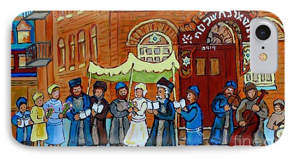 Klezmer Band Street Musicians Under The Chupa Wedding Bagg Street Jewish Art Carole Spandau          IPhone Case by Carole Spandau