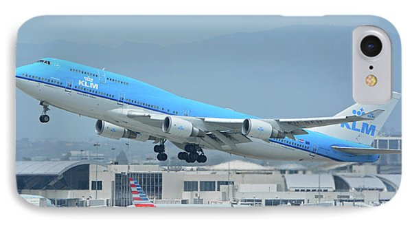 IPhone Case featuring the photograph Klm Boeing 747-406m Ph-bfh Los Angeles International Airport May 3 2016 by Brian Lockett