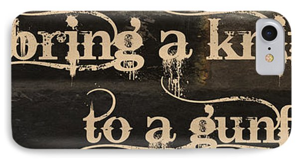 Knife To A Gunfight Mancave IPhone Case by Mindy Sommers