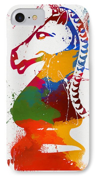 Knight Chess Piece Paint Splatter IPhone Case by Dan Sproul
