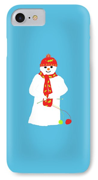 IPhone Case featuring the digital art Knitting Snowman by Barbara Moignard