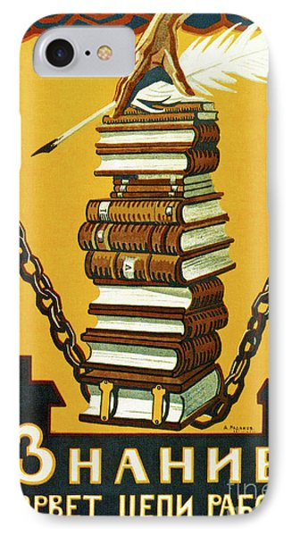 Knowledge Will Break The Chains Of Slavery, 1920 IPhone Case by Alexei Radakov