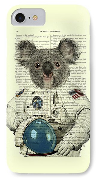Koala In Space Illustration IPhone Case by Madame Memento