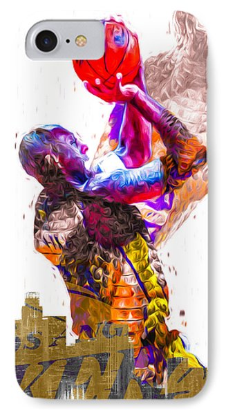 Kobe Bryant Los Angeles Lakers Digital Painting Snake 1 IPhone Case by David Haskett