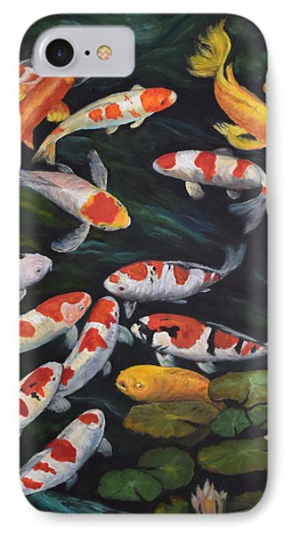 IPhone Case featuring the painting Koi Among The Lily Pads II by Sandra Nardone