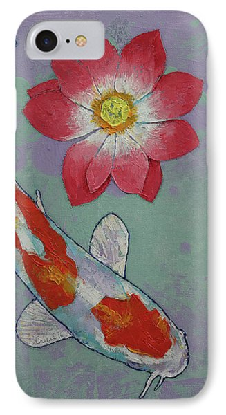 Koi And Lotus IPhone Case by Michael Creese