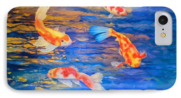 IPhone Case featuring the painting Koi At Play by Teri Atkins Brown