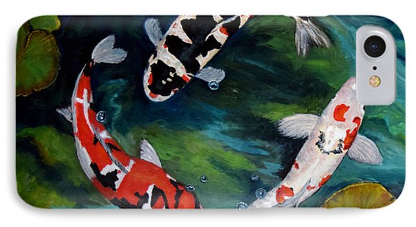 IPhone Case featuring the painting Koi Dance by Sandra Nardone