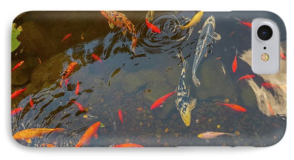 Koi Fishes In The Pond IPhone Case by Art Spectrum