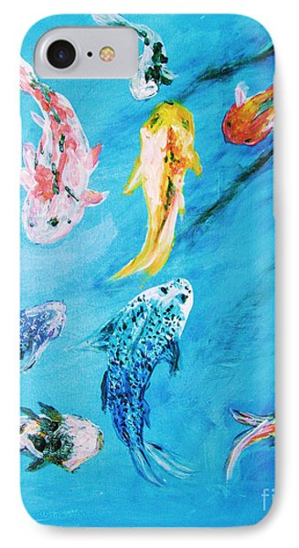 IPhone Case featuring the painting Swimming Koi Fish From The Water Series by Donna Dixon