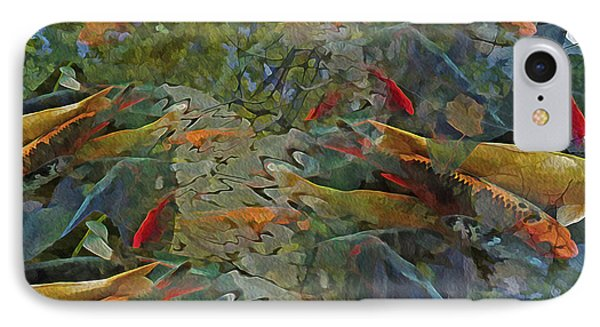 IPhone Case featuring the mixed media Koi Pond With Reflections 9 by Lynda Lehmann