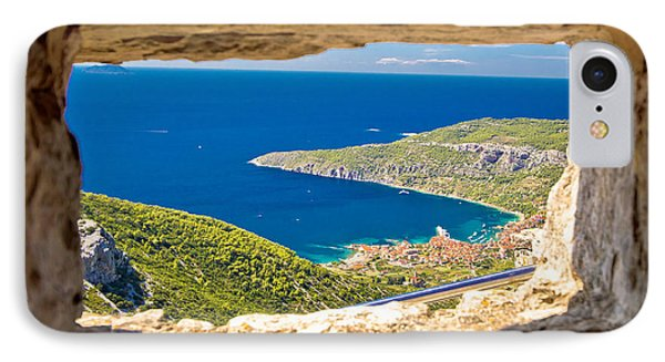 Komiza Bay Aerial View Through Stone Window IPhone Case by Brch Photography