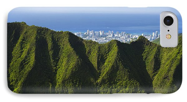 Koolau Mountains And Honolulu Phone Case by Dana Edmunds - Printscapes