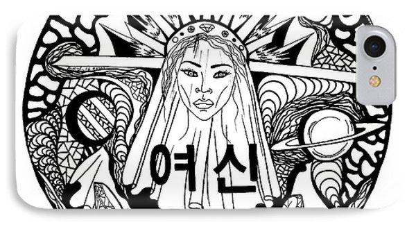 Korean Goddess Black And White IPhone Case by Kenal Louis