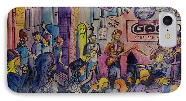 IPhone Case featuring the painting Kris Lager Band At The Goat by David Sockrider