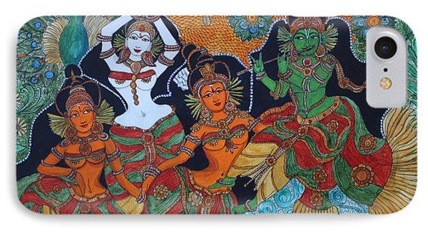 IPhone Case featuring the painting Krishna And Gopika by Saranya Haridasan