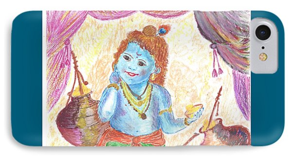 Krishna As Butter Thief  IPhone Case by Chitra Pandalai