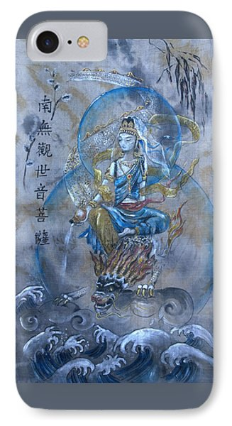Kuan Yin And Dragon  IPhone Case by Silk Alchemy