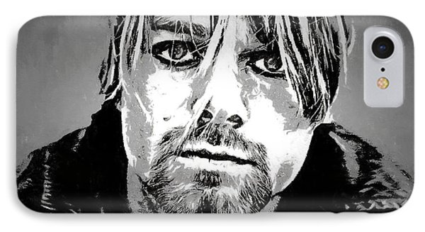 Kurt Cobain Charcoal IPhone Case by Dan Sproul