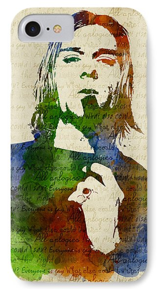 Kurt Cobain Watercolor IPhone Case by Mihaela Pater