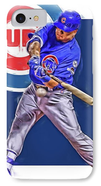 Kyle Schwarber Chicago Cubs Oil Art IPhone Case by Joe Hamilton