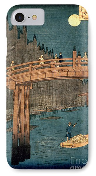 Kyoto Bridge By Moonlight Phone Case by Hiroshige