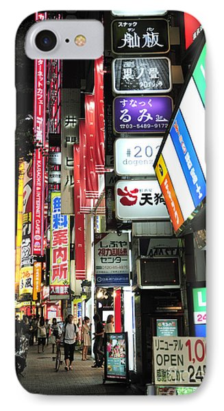 Kyoto Street Neon Signs Phone Case by Andy Smy