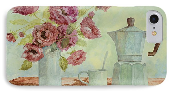 La Caffettiera E I Fiori Amaranto IPhone Case by Guido Borelli
