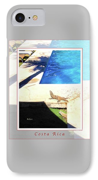 la Casita Playa Hermosa Puntarenas Costa Rica - Iguanas Poolside Greeting Card Poster IPhone Case