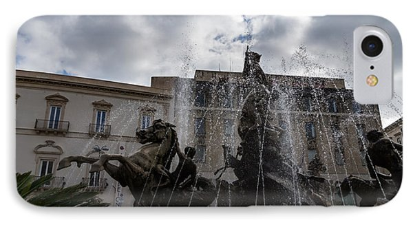 La Fontana Di Diana - Fountain Of Diana Silver Jets And Sky Drama IPhone Case